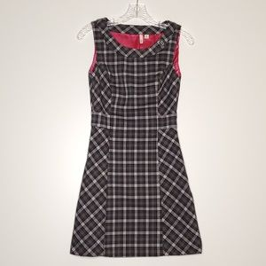 Frenchi Gray & Pink Plaid Short Sleeve Dress XS